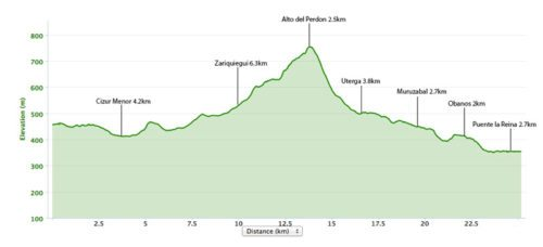 Pamplona to Puente la Reina Elevation Map