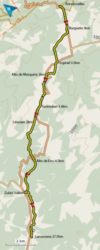 Roncesvalles to Larrasoana Map
