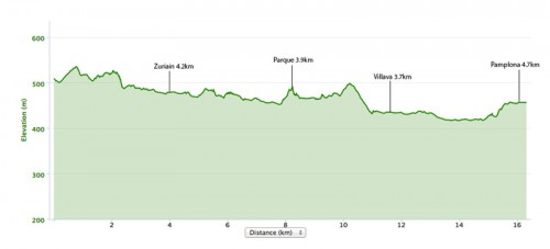 Larrasoana to Pamplona elevation map