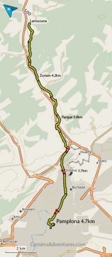 Larrasoana to Pamplona map