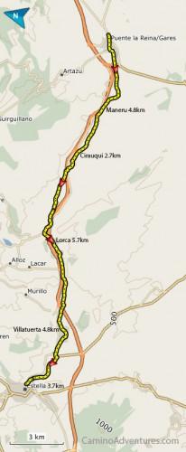 Puente la Reina to Estella map