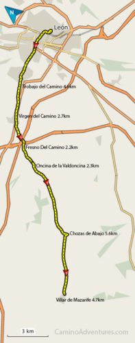 Leon to Villar de Mazarife Map
