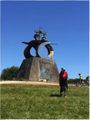 Statue commemorating the Camino Santiago and John Paul