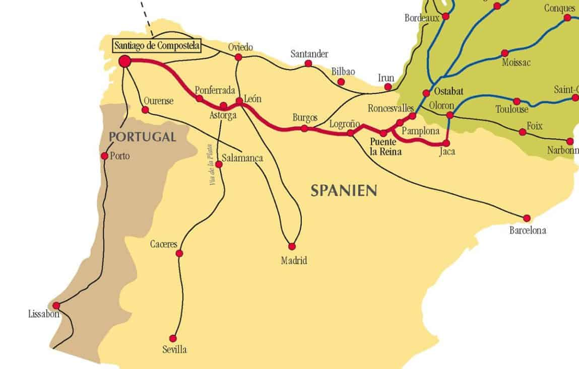 Camino de Santiago Routes in Spain on spain map, burgos map, paris france landforms map, gibraltar map, pyrenees map, hospital map, food of france regions map, france natural resources map, santiago de compostela map, west france map, spanish-speaking country map, france airports map, ponferrada map, samos map, pilgrimage map, home map, france country map,