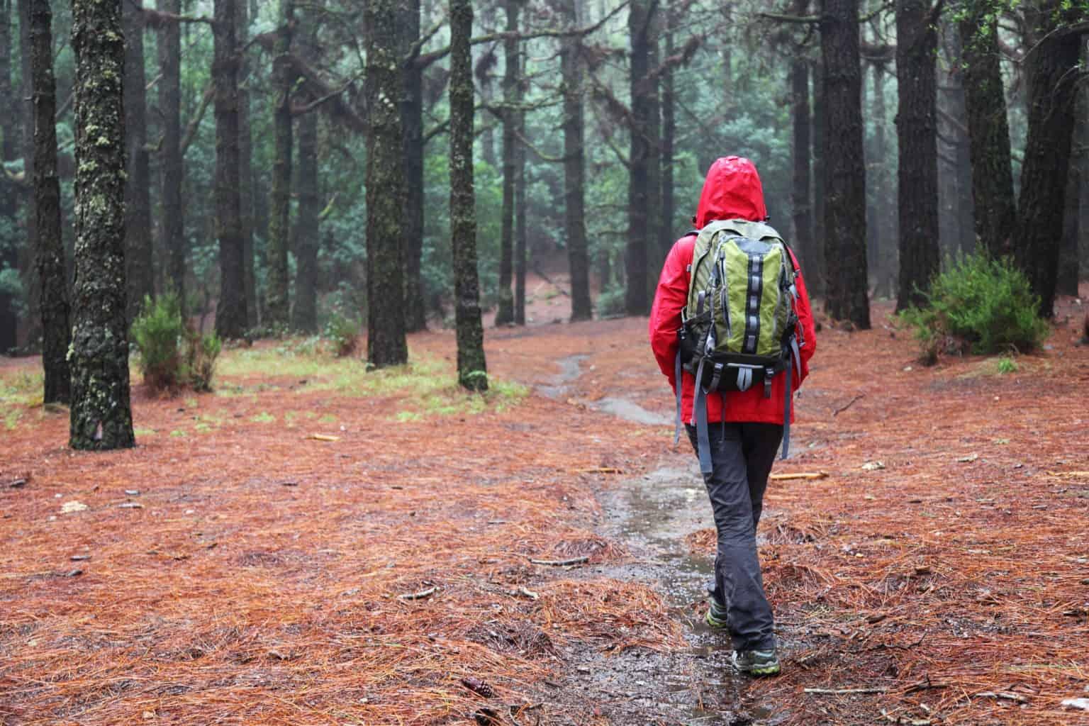hiking in the rain jacket
