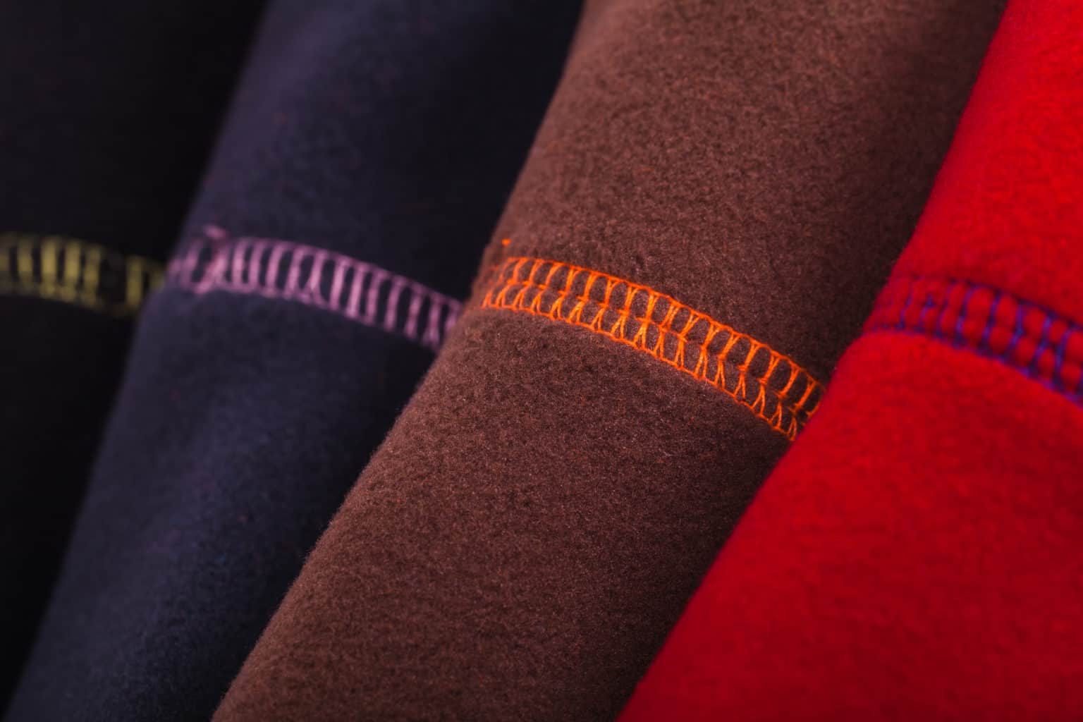 Close up of colorful fleece clothes