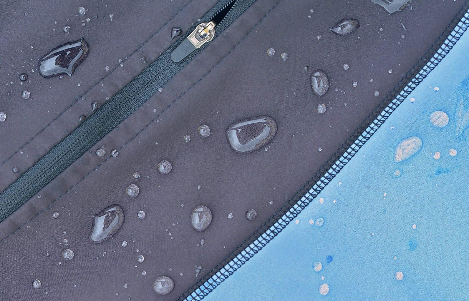Detailed view of softshell jacket with water drops