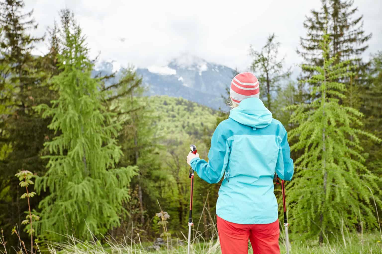 Hiker wearing softshell clothing