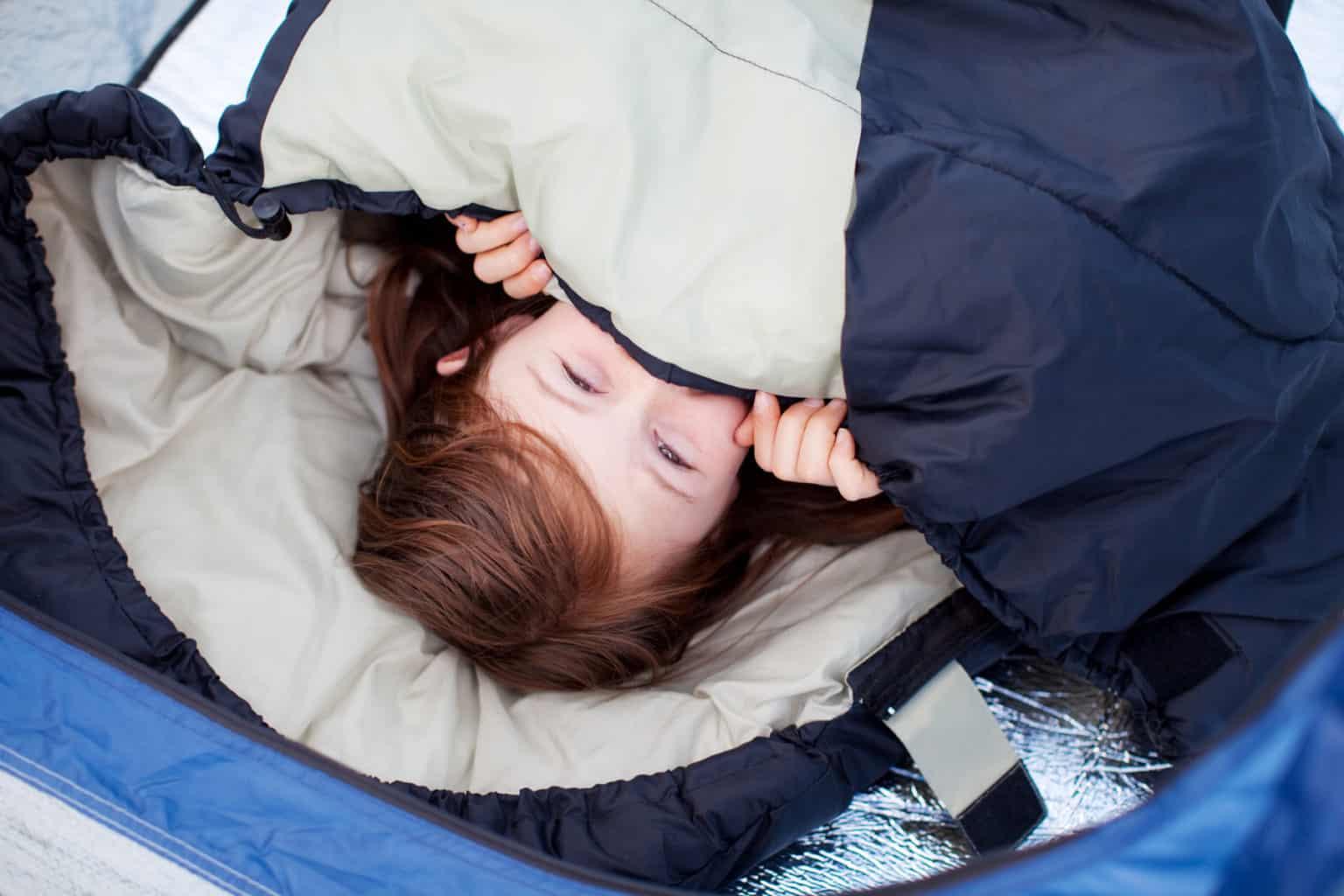 Little Girl Lying In Sleeping Bag