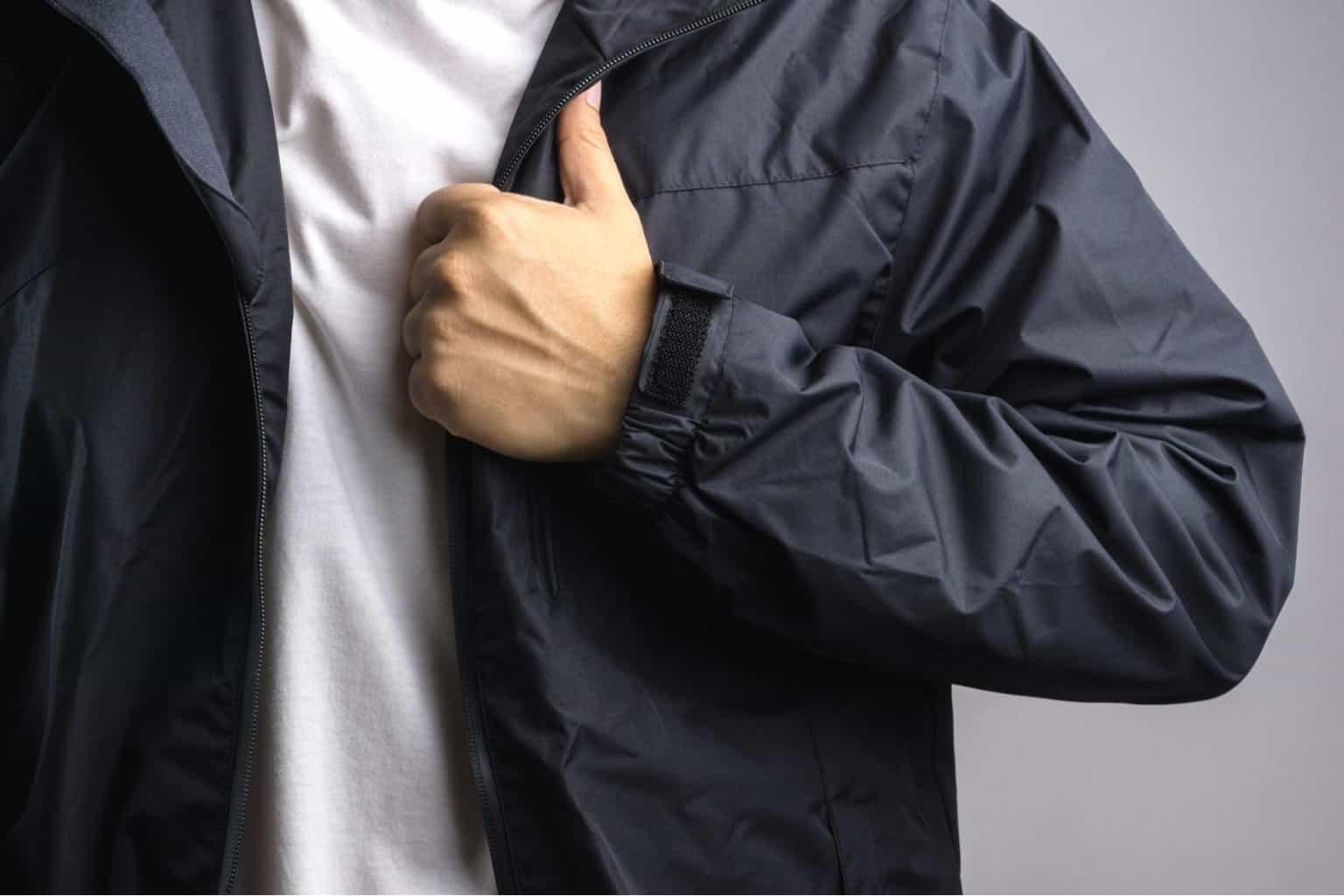 Man wearing black softshell jacket