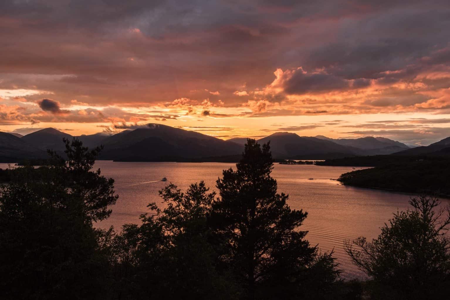Sunset over Loch Lomond in Balmaha