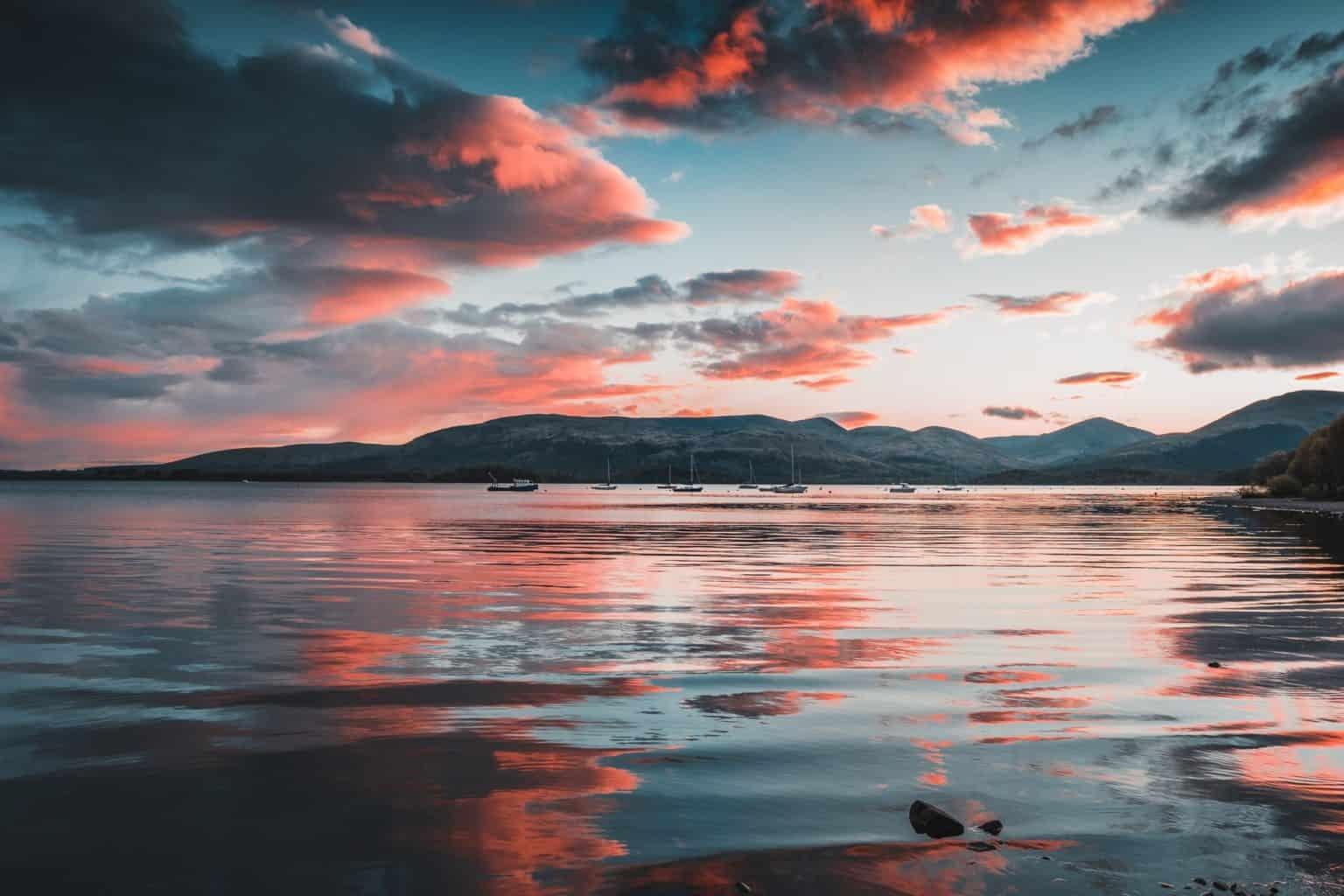 sunset along the West Highland Way