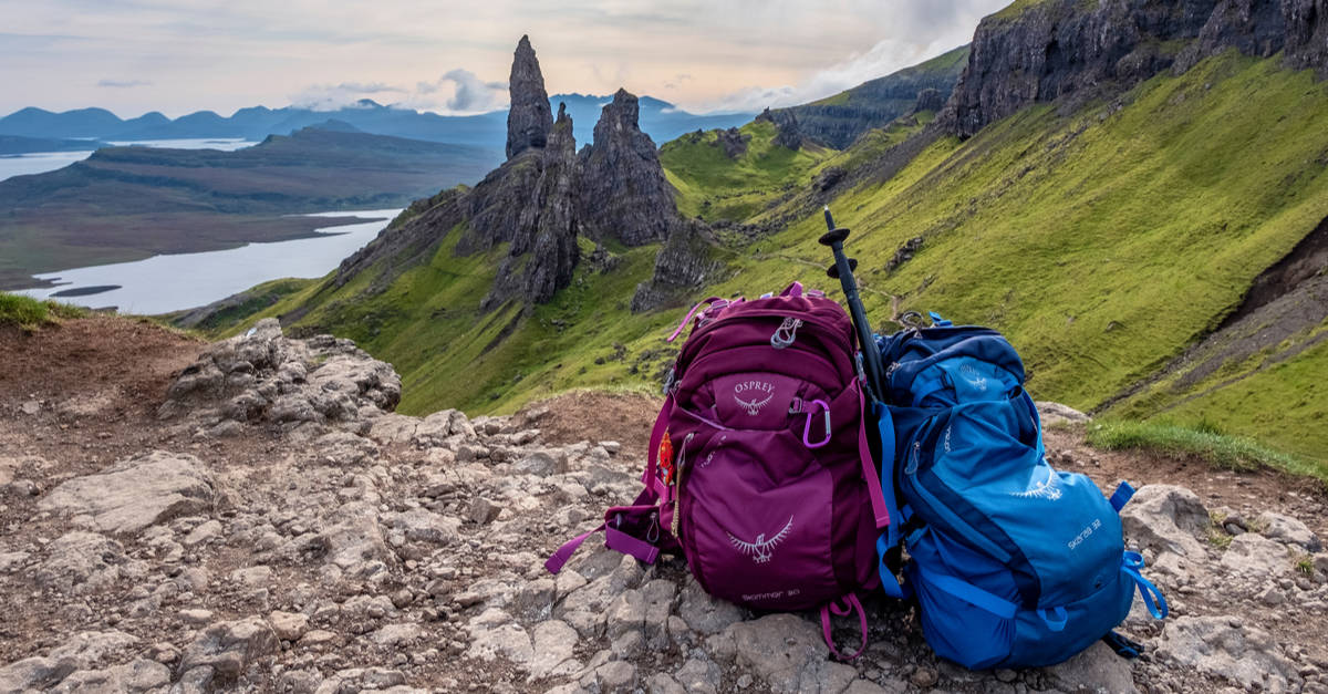 Backpacks resting on the ground Scotland