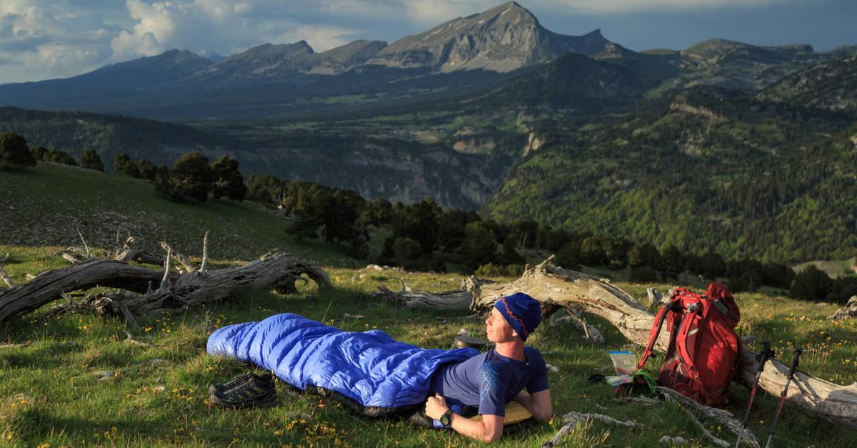 Camper in a sleeping bag