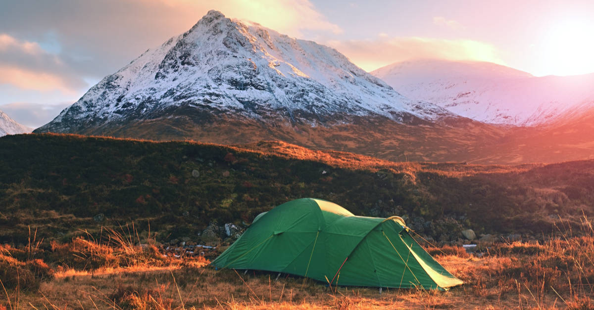 Camping tent in the Scottish Highlands
