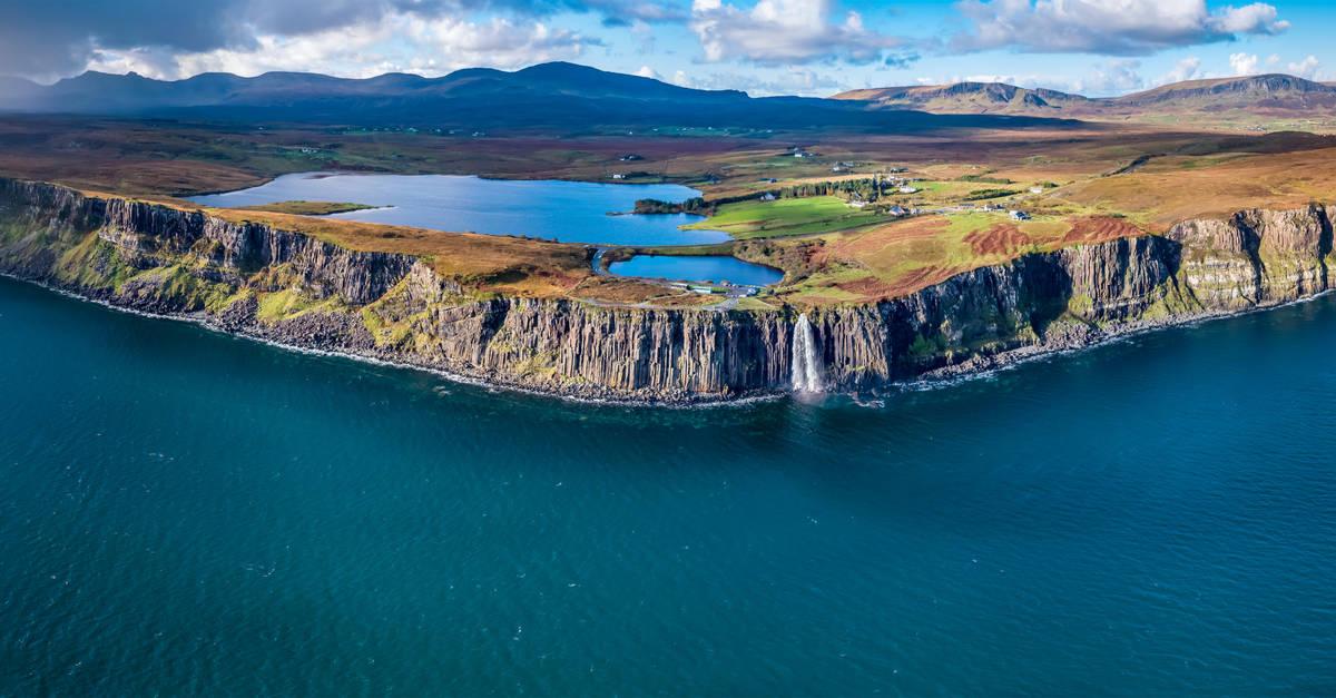 Drone view of the Scottish coastline