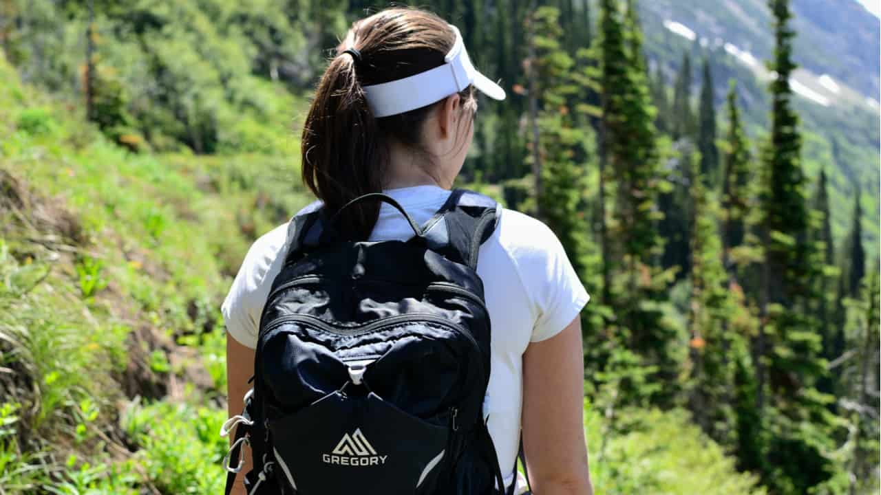 Hiker wearing a Gregory backpack