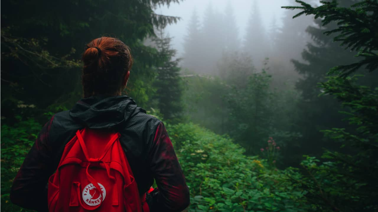 Hiker with a Fjallraven backpack