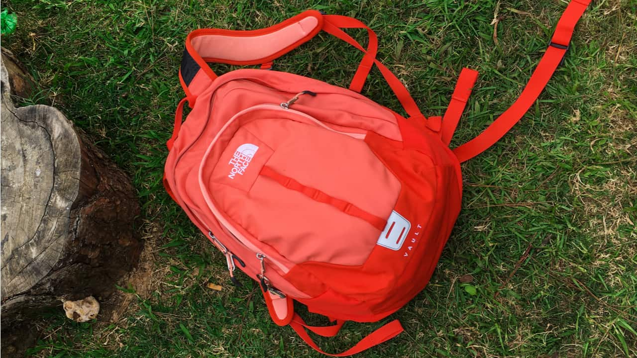North Face backpack on the ground